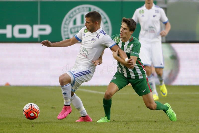 Ferencvaros vs Fotbollsmatch för Bekescsaba OTP bankliga royaltyfri foto