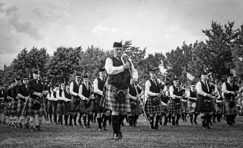 Fergus, Ontario, Canadá - 08 11 2018: Sobre 20 bandas del tubo paricipated en la competencia de la banda del tubo llevada a cabo  foto de archivo