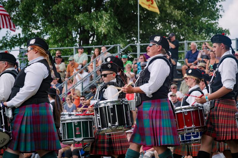 Fergus Ontario, Kanada - 08 11 2018: Över 20 rörmusikband paricipated i rörmusikbandstriden som rymms av pipblåsare och rörmusikb royaltyfri fotografi