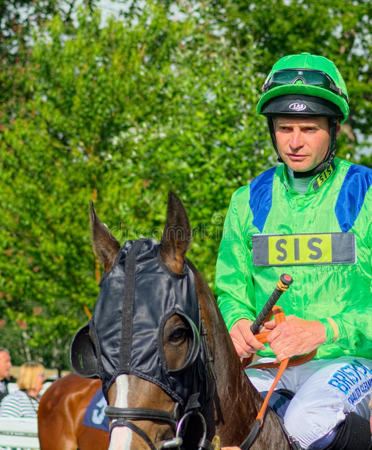 Fergus Sweeney, Pferderennenjockey stockfoto
