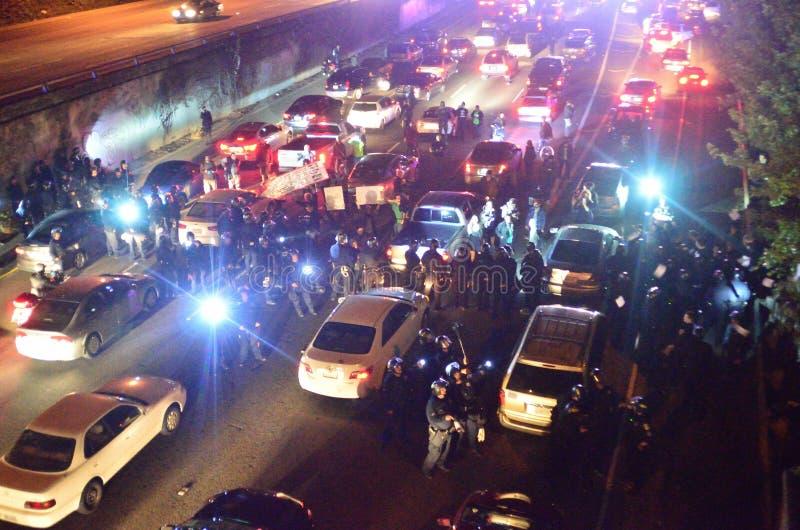 Ferguson decyzi protesty W Oakland Kalifornia zdjęcia stock