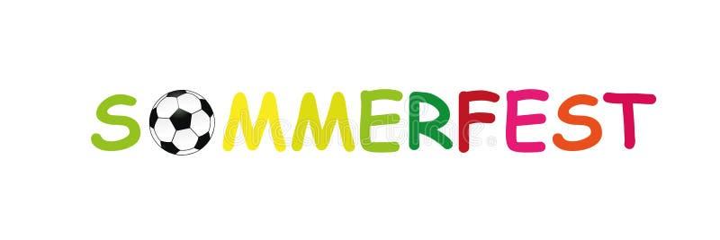 Feria alemana colorida del verano del texto con fútbol stock de ilustración