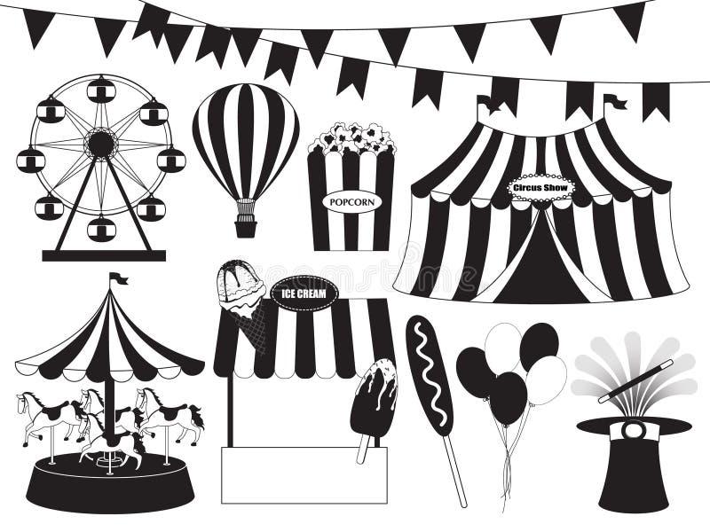 Feria de diversión y colección del circo libre illustration
