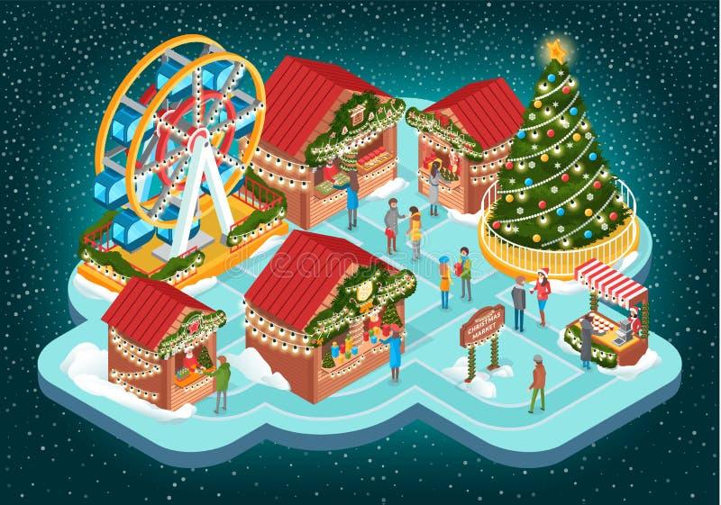 Feria de la Navidad con los edificios y Ferris Vector ilustración del vector