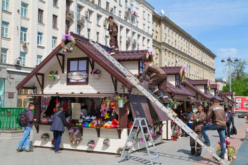 Feria de la primavera en el centro de Moscú Rusia imagenes de archivo