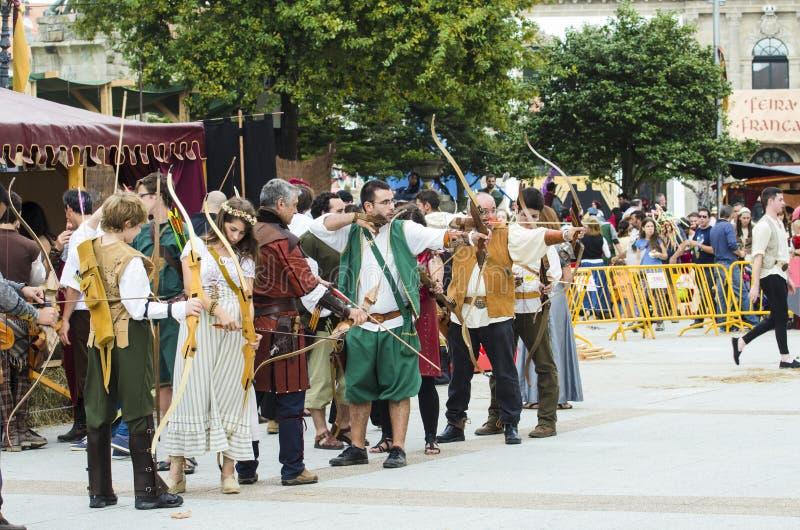 Feria medieval en Galicia España foto de archivo