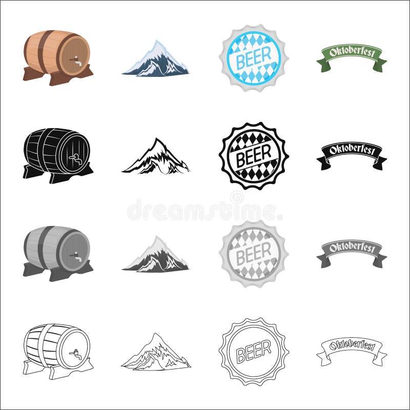 Feriado, Baviera, Alemanha e o outro ícone da Web no estilo dos desenhos animados Logotipo, propaganda, quadro indicador, ícones  ilustração do vetor