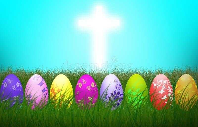 Feriado colorido transversal do fundo da religião dos ovos da Páscoa ilustração royalty free