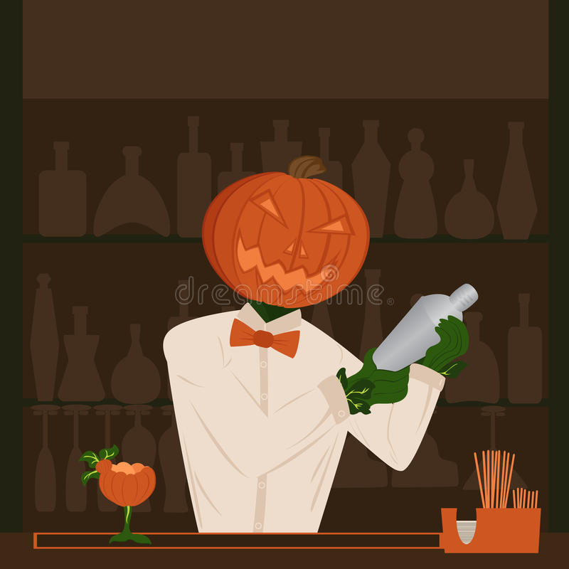 Feriado da abóbora de Dia das Bruxas atrás do barman da barra que faz o cockta ilustração stock