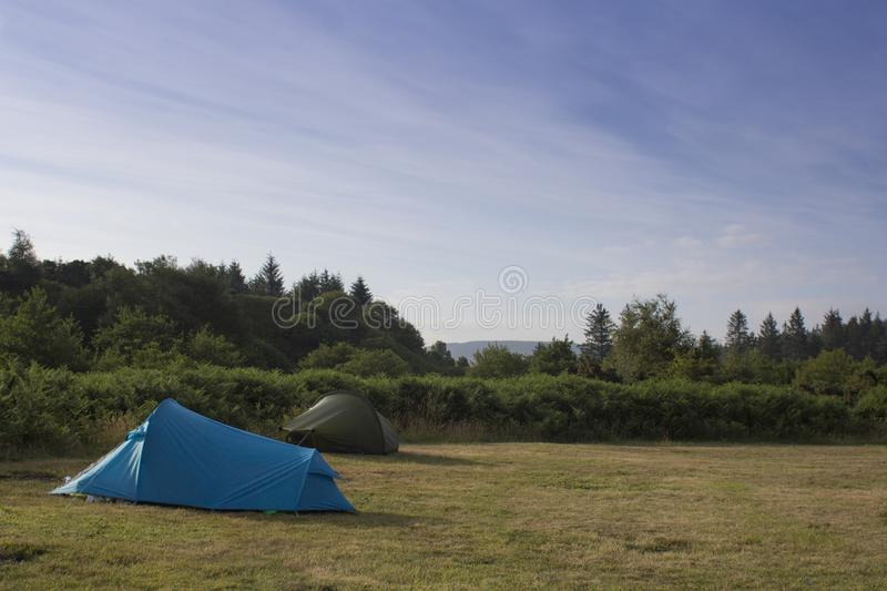 Feriado de acampamento do verão em Escócia foto de stock
