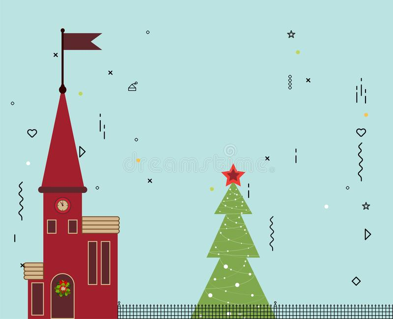 Feriado de inverno no fundo do céu azul da cidade da cidade ilustração royalty free