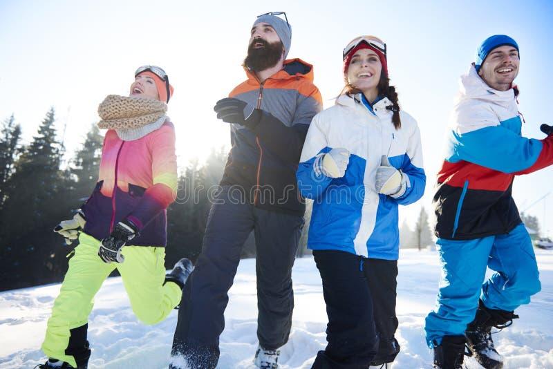 Feriado de inverno para amigos fotos de stock royalty free