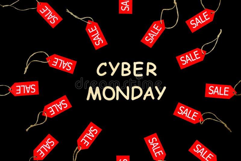 Feriado de segunda-feira do Cyber Etiquetas de compra vermelhas do desconto da venda imagem de stock