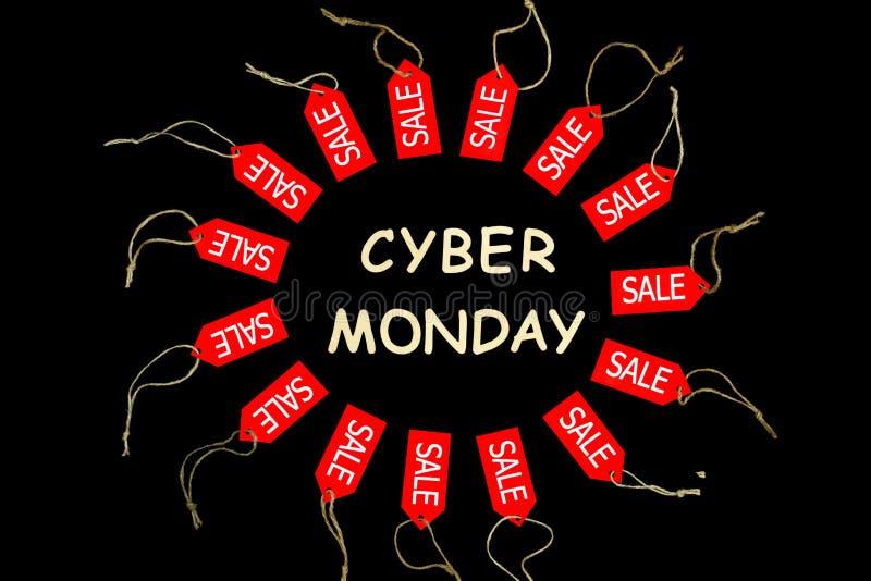 Feriado de segunda-feira do Cyber Etiquetas de compra vermelhas do desconto da venda fotografia de stock