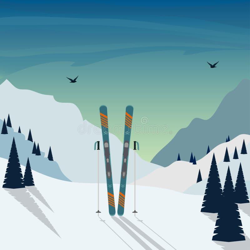 Feriado do esqui do inverno nas montanhas Paisagem nevado da montanha com esquis e polos de esqui que estão na neve no primeiro p ilustração stock