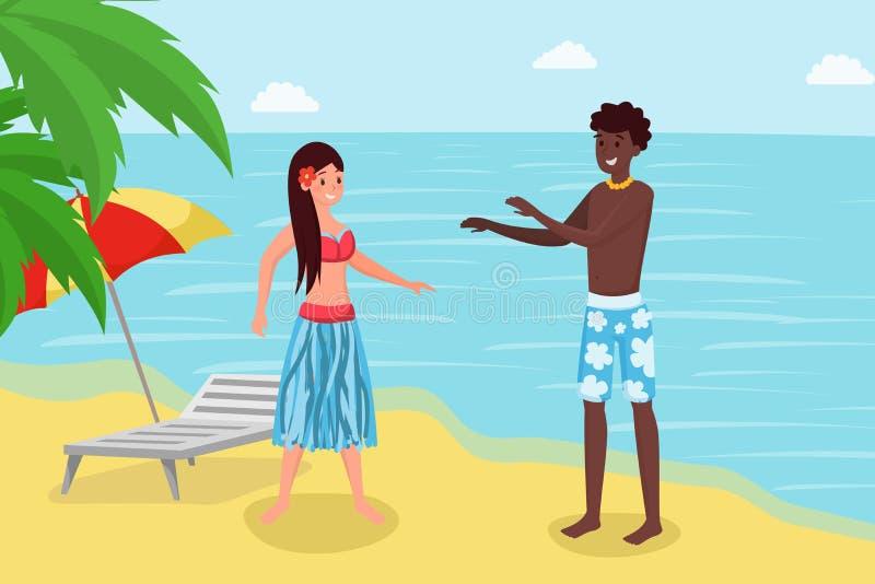 Feriado do verão no recurso tropical luxuoso Pares bonitos, amiga e noivo reaxing em desenhos animados do litoral ilustração stock
