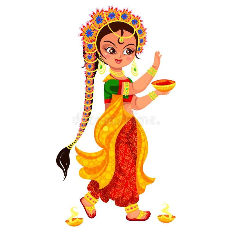 Feriado e menina de Diwali com a bacia de pintura ilustração do vetor