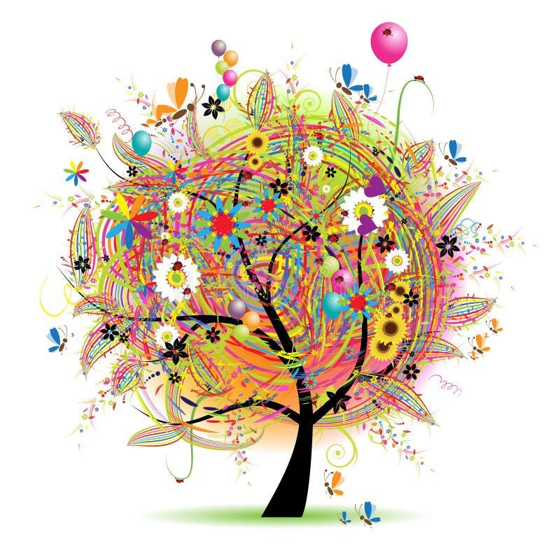 Feriado feliz, árvore engraçada com baloons ilustração royalty free