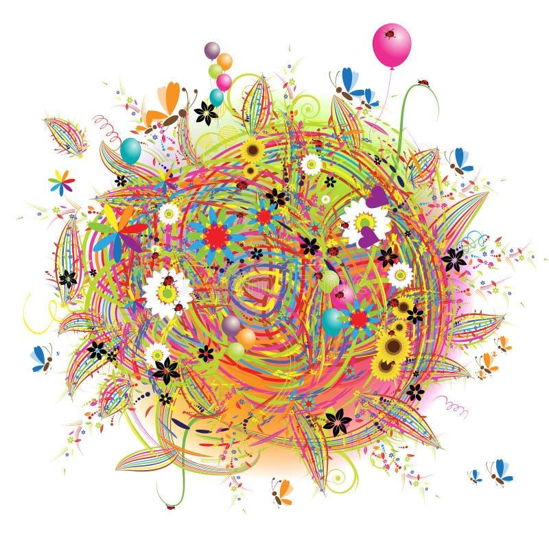 Feriado feliz, cartão engraçado com balões ilustração do vetor