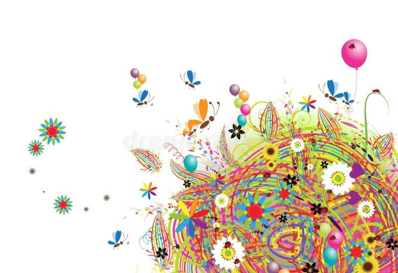 Feriado feliz, cartão engraçado com balões ilustração stock