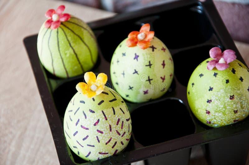 Feriado feliz da Páscoa Tintura natural Ovos pintados DIY e feito a mão Ovo de Easter Vida verde Flor Plântulas da mola estufa foto de stock
