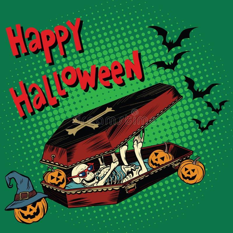 Feriado feliz de Dia das Bruxas, abóbora má de esqueleto do caixão ilustração do vetor