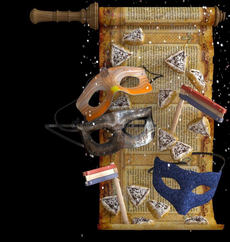 Feriado feliz do purim, tradicional judaico ilustração stock