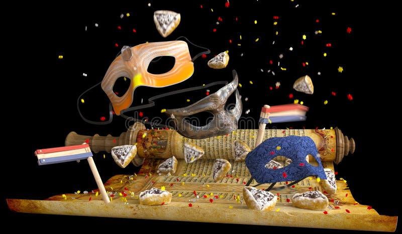 Feriado feliz do purim, tradicional judaico ilustração do vetor