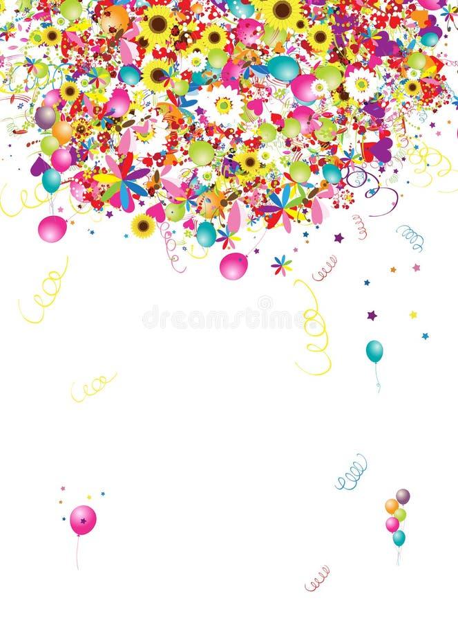 Feriado feliz, fundo engraçado com balões ilustração stock