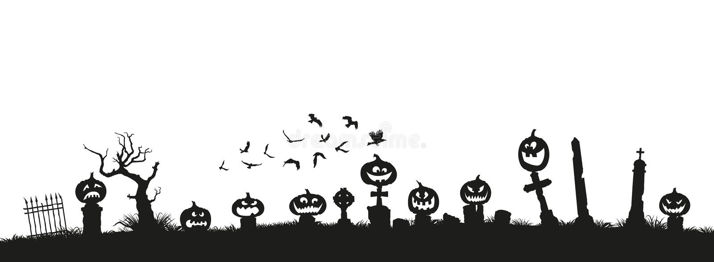 Feriado Halloween Silhuetas pretas das abóboras ilustração royalty free