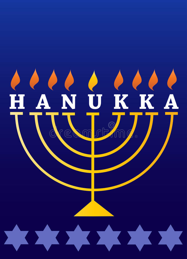 Feriado Hanukkah; Menorah iluminado ilustração royalty free