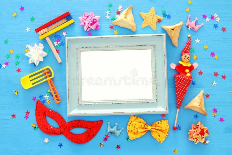 Feriado judaico do carnaval do conceito da celebração de Purim Vista superior imagem de stock