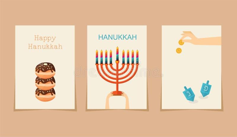 Feriado judaico hanukkah três cartões ilustração do vetor