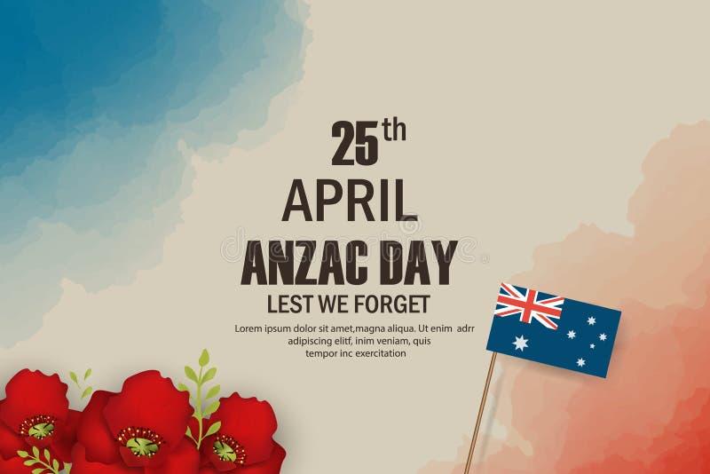 Feriado memorável do aniversário das papoilas de Anzac Day memória dos veteranos de guerra em Austrália, Nova Zelândia Anzac Day  ilustração stock