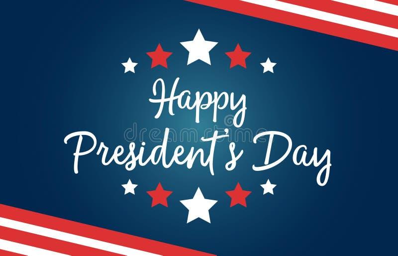 Feriado nacional do Dia E.U. do presidente feliz Cartão com símbolos da bandeira americana, com listras e estrelas Inclui criativ ilustração do vetor