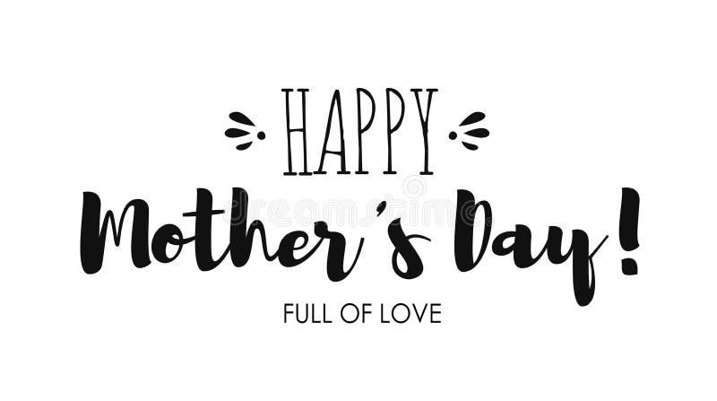 Feriado que rotula o dia feliz do ` s da mãe para o cartão ou a bandeira, cartaz Inscrição preta ilustração stock