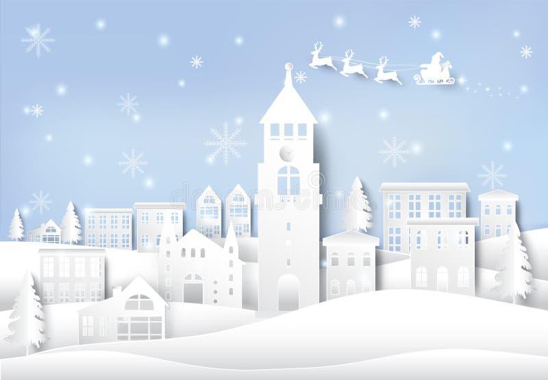 Feriado, Santa e floco de neve de inverno no fundo da cidade da cidade ilustração stock