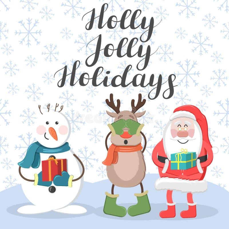 Feriados alegres do azevinho Santa, cervos e boneco de neve ilustração stock