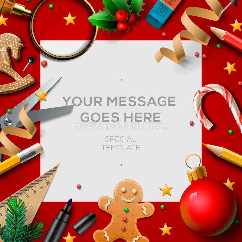 Feriados de escola, cartaz da ruptura do Natal ilustração do vetor