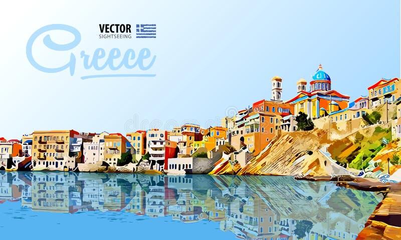 Feriados de Grécia - mar claro e a reflexão consoles Cidade do panorama Paisagem Ilustração do vetor ilustração royalty free