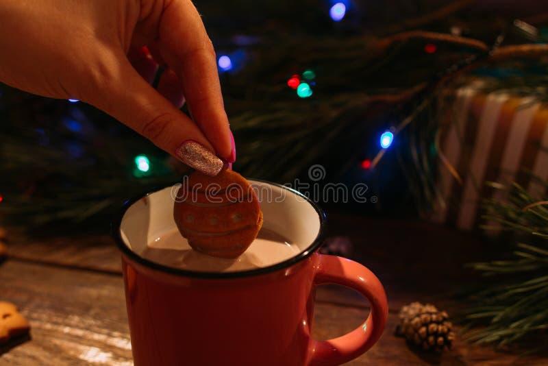 Feriados de inverno com latte e cookies foto de stock