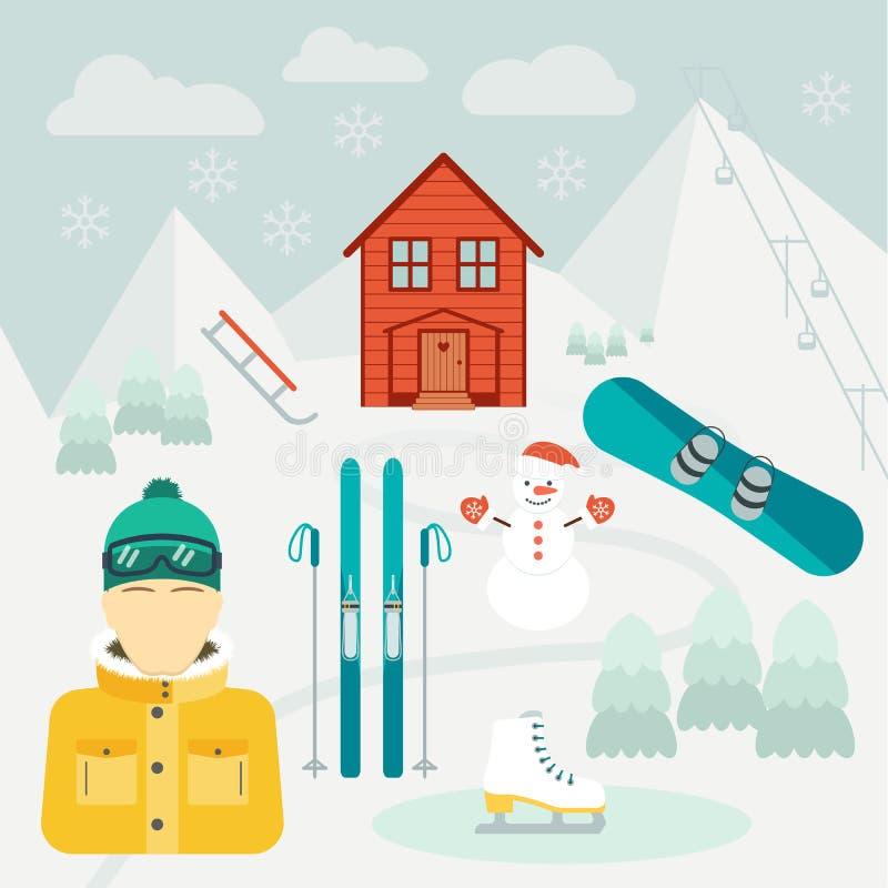 Feriados de inverno Esporte de inverno Estância de esqui Ícones no projeto liso Vetor ilustração royalty free