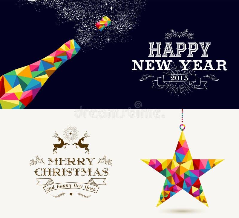 Feriados do ano novo feliz e do Feliz Natal ilustração royalty free