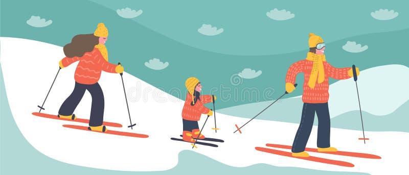 Feriados do esqui da família ilustração do vetor