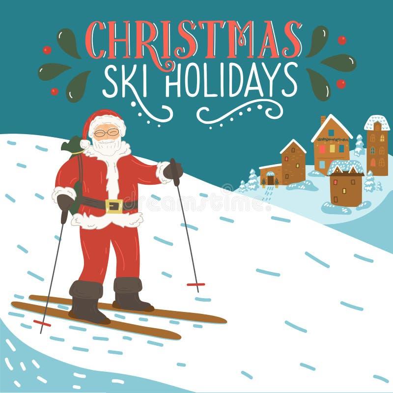 Feriados do esqui do Natal Esqui de Papai Noel nas montanhas com rotulação tirada mão ilustração royalty free