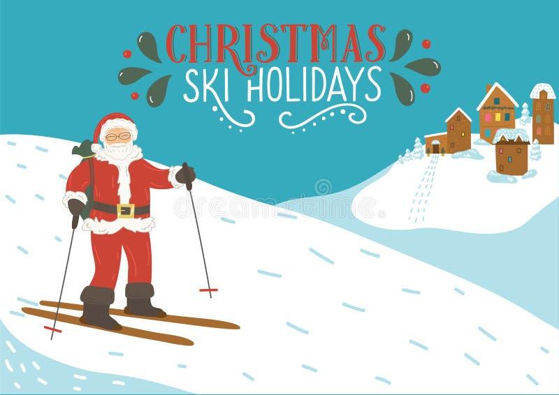 Feriados do esqui do Natal Estância de esqui nova de Papai Noel nas montanhas com rotulação ilustração stock