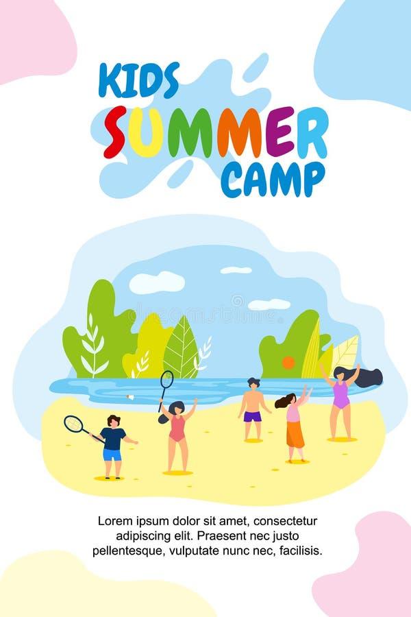 Feriados lisos verticais do acampamento de verão das crianças da bandeira ilustração royalty free