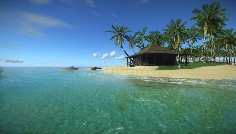 Feriados no paraíso tropical no oceano, casa na ilha tropical ilustração do vetor