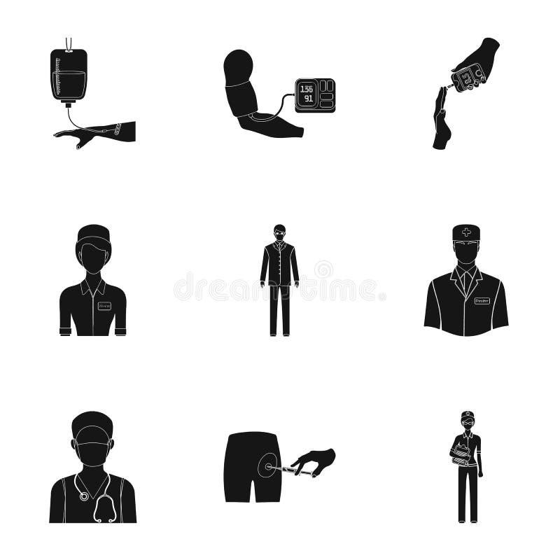 Ferido em um carrinho de criança, transfusão de sangue, teste do açúcar no sangue, doutor, pessoal médico Ícones ajustados da col ilustração do vetor
