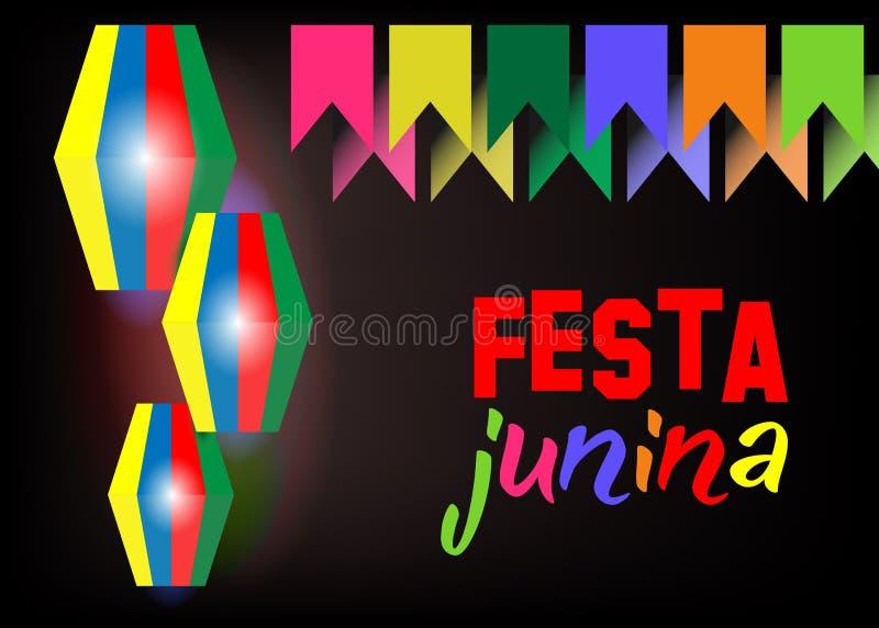 Ferie för Festa juninabakgrund Latin - amerikansk ferie, det Juni partiet av Brasilien, ljus natt bakgrunden Mång- färgvektor royaltyfri illustrationer